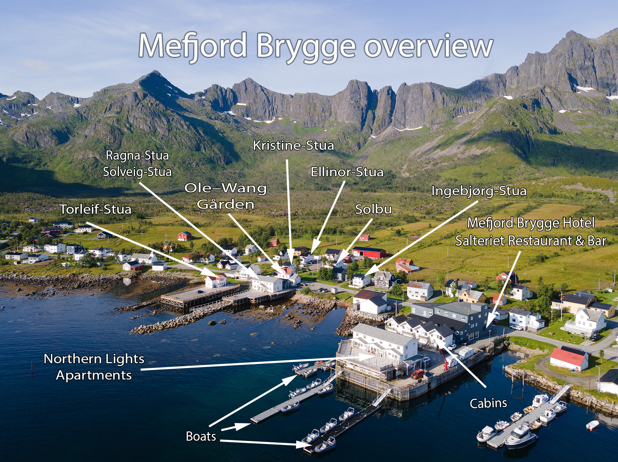 Map of accommodation at Mefjord Brygge