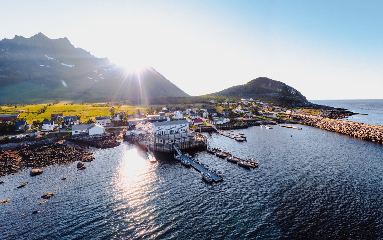 Mefjord Brygge aeal view