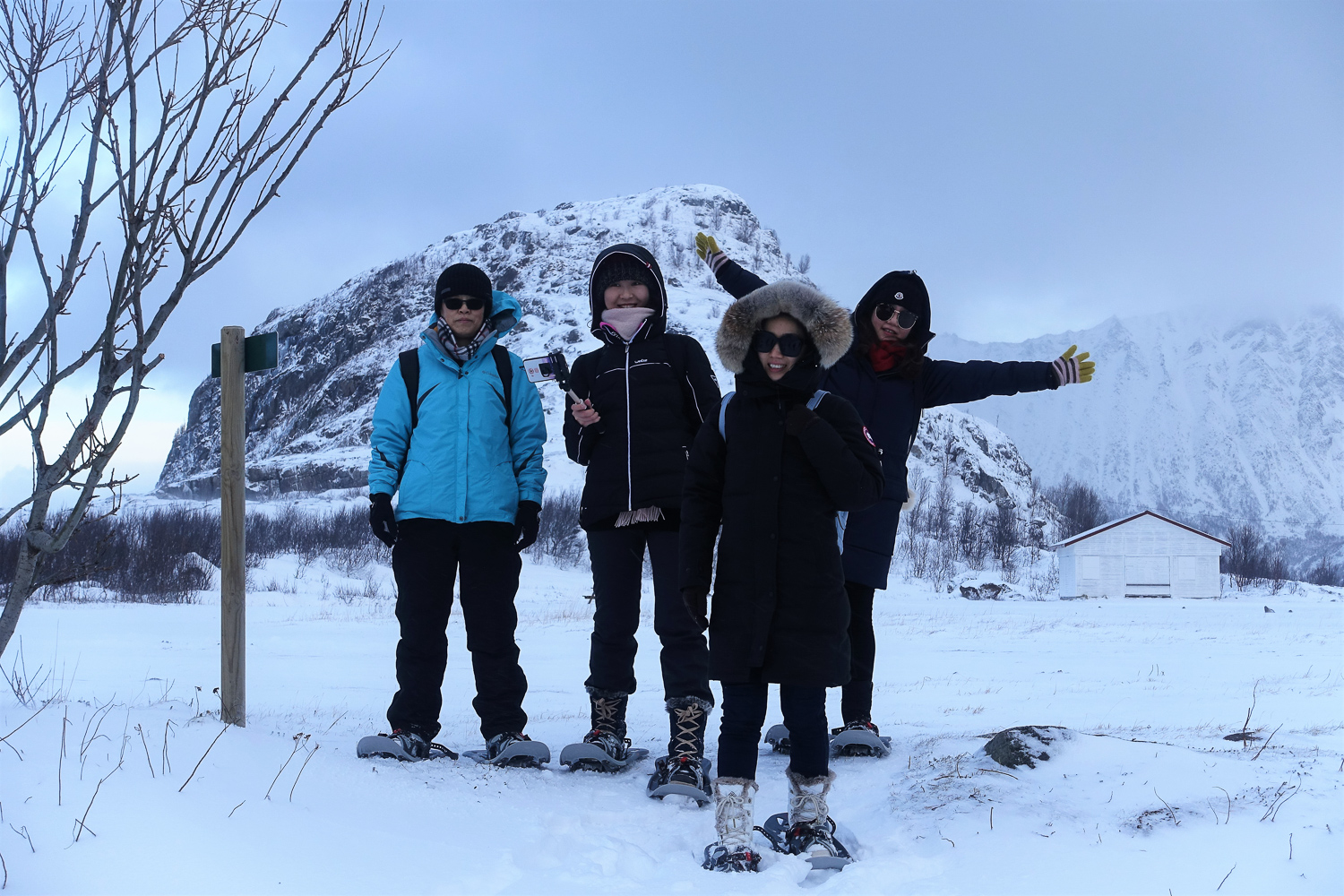 Snow shoeing with the guests